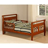 Baby Relax Sleigh Toddler Bed With 2 Side Rails for Added Safety and Rounded Headboard (Walnut)
