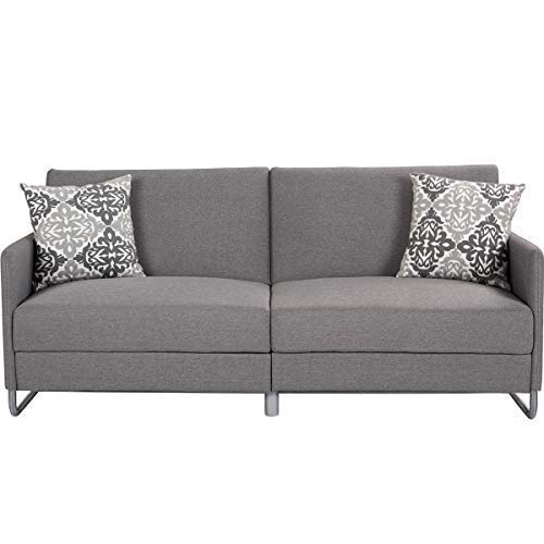Giantex Futon Sofa Bed with Backrest & Armrest Convertible Recliner Couch Modern Splitback Sleeper Dorm Lounge Futon Sofa Couches, Gray