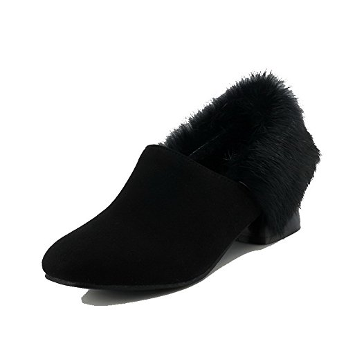 AllhqFashion Womens Low-Heels Pull-On Imitated Suede Closed-Toe Pumps-Shoes Black yMdGW1fNo