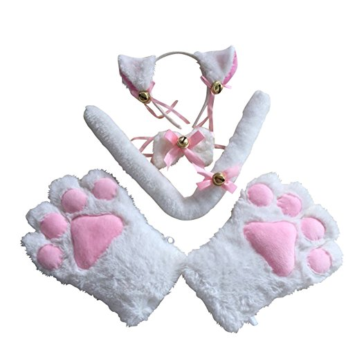 Little Girls' Cat Cosplay Set (Paw, Headband, Bow Tie, Tail) (White) (Cat Soft Costume)