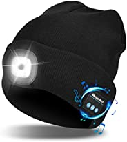 Unisex Bluetooth Beanie Hat with Light Wireless Headphones Gifts for Men Dad