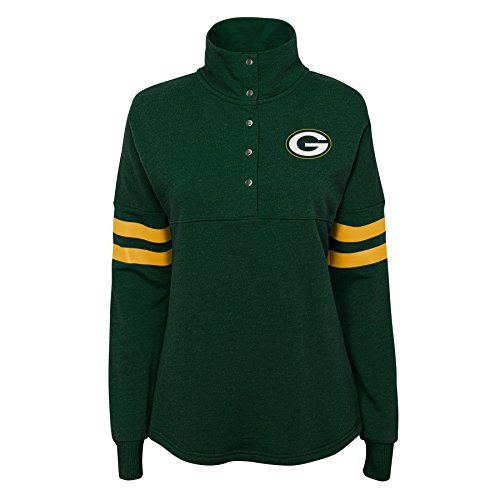 Outerstuff NFL NFL Green Bay Packers Juniors Classic Throw Varsity 1/4 Snap Pullover Top Hunter Green, Juniors - Green Apparel Classic