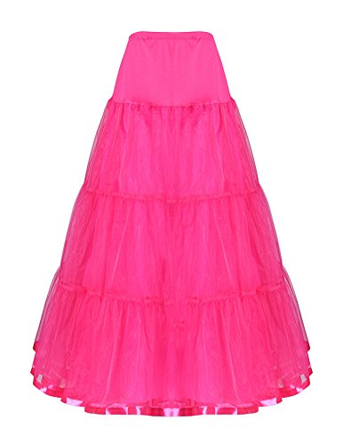 Ruffle Petticoat (Long Pettiskirt Puffy Petticoat Ruffle Rose Red Size)