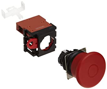 Omron A22E-MP-01 Emergency Stop Operation Unit and Switch, Screw Terminal, IP65 Oil-Resistant, Non-Lighted, Push-Lock Turn-Reset Operation, Red, 40mm Diameter, Single Pole Single Throw Normally Closed Contacts