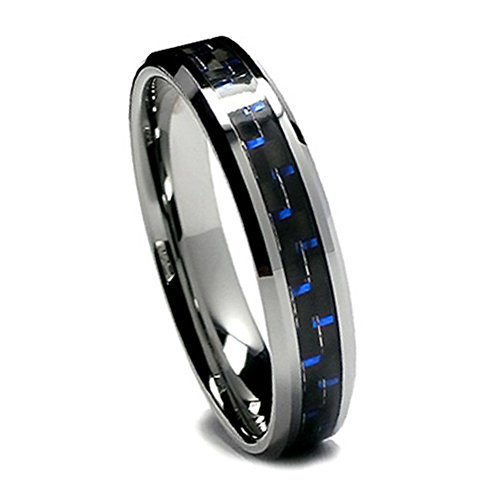 Women Tungsten Wedding Band, Black and Blue Carbon Fiber Tungsten Ring for Women, 6mm (7.5)