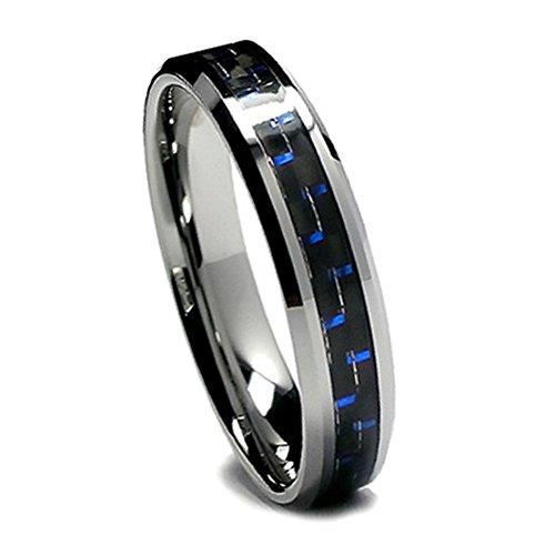 Women Tungsten Wedding Band, Black and Blue Carbon Fiber Tungsten Ring for Women, 6mm (7.5)