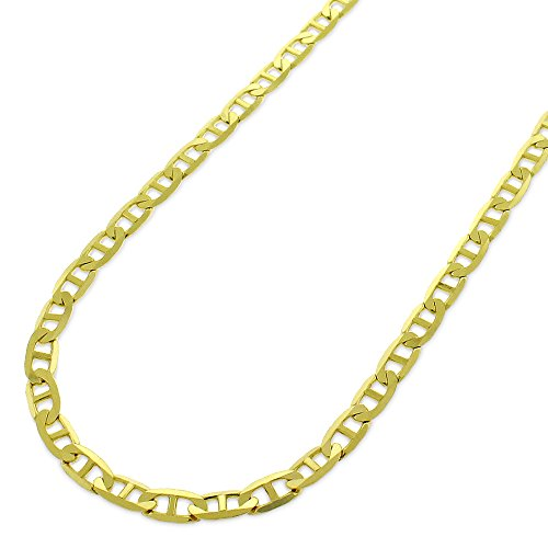 10k Yellow Gold 3mm Solid Mariner Anchor Link Flat Necklace Chain 16
