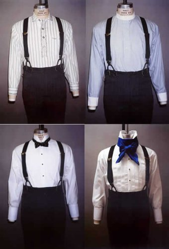 Victorian Men's Shirts- Wingtip, Gambler, Bib, Collarless Mens Shirt  (1845-1920) $13.95 AT vintagedancer.com