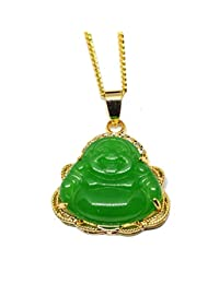 14K GOLD FINISH ICED OUT Green JADE BUDDHA PENDANT Chain Necklace