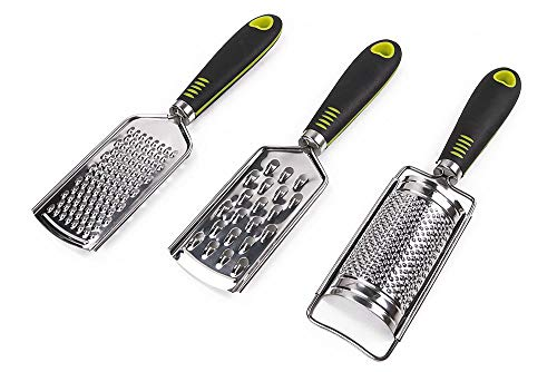 Hand Held Grater Set of 3(2 Flat, 1 Round),Stainless Steel Cheese Grinder,Multi-purpose Kitchen Food Grater for Vegetable,Fruit,Chocolate By HTB ()