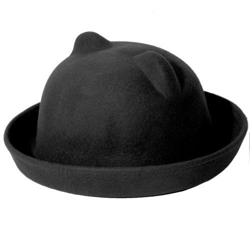 Accessoryo - 100% Chapeau Melon De Laine Noir Uni Avec L'Oreille Moulée Disponible Dans Une Sélection De Tailles