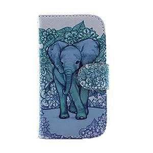 MOFY- Elefante con el patr—n de flores de cuero de la PU del caso del cuerpo completo con el soporte y ranura para tarjeta para Samsung Galaxy S3 I8190 Mini