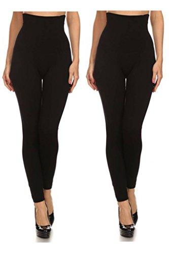 Women's High Waist Compression Leggings (One Size, Black-Black)