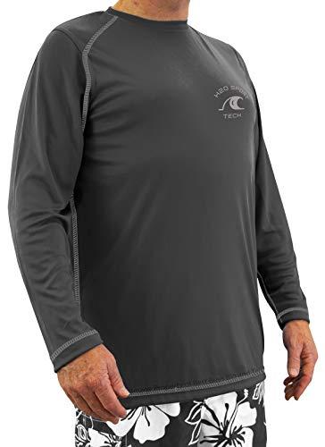 H2O Sport Tech Long Sleeve Raglan Swim Shirt Charcoal 2XLT #724C