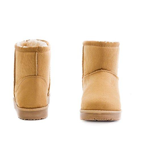 Damen Worker Boots Schnür Stiefel Stiefeletten in Lederoptik warm gefüttert Camel Milan