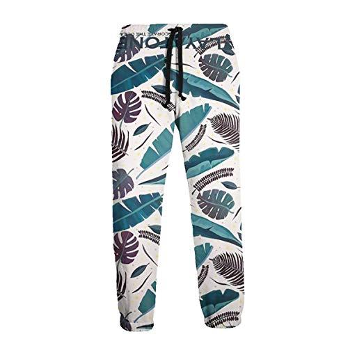 Vintage Cilantro - Unisex Sweatpants Vintage Colored Tropical Cilantro Pants Sports Trousers with Drawstring for Training White