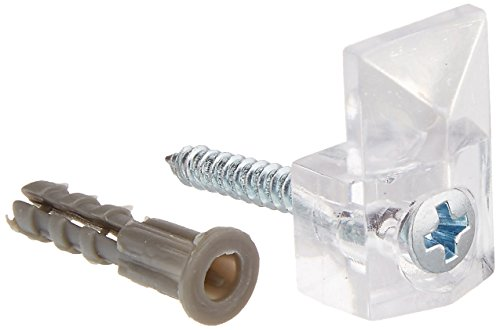 Slide-Co 193671 Mirror Clip, 1/4-Inch Glass with Screw and Anchor, Modern,(Pack of 6) ()