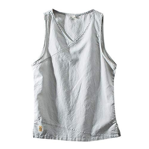 SHUBHU Men's Cotton Linen Solid Color Sleeveless Tank Top Retro T-Shirt (Gray, -