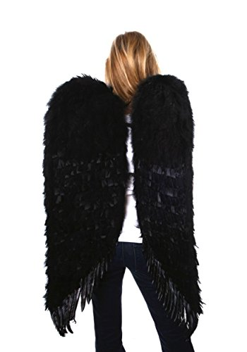 Adult Black Angel Wings Costume - Adult Costume Cosplay Costume Wings Large Feather Wings XL Adult Feather Wings Black Dark Angel Wings Large