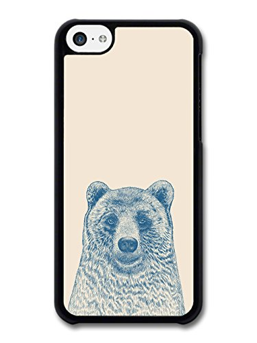 Cool Cute Funny Bear Illustration in Blue Hand Drawn Style case for iPhone 5C