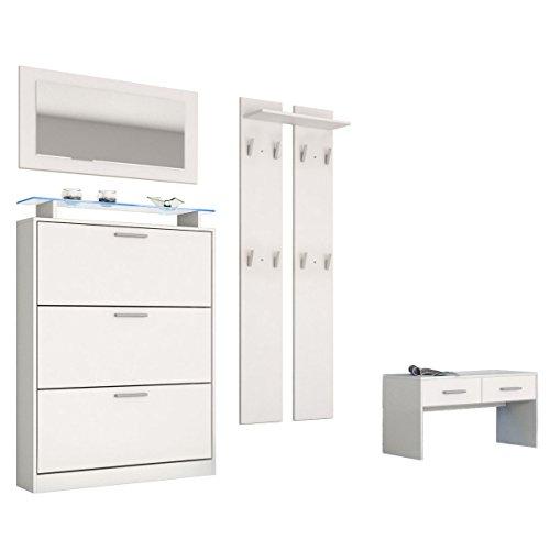 Garderobenset Garderobe Lavia, Korpus in Weiß matt / Front in Weiß matt