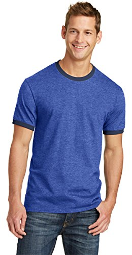 Port & Company Mens 5.4-oz 100% Cotton Ringer Tee PC54R -Heather Roya (Heather Blue Ringer)