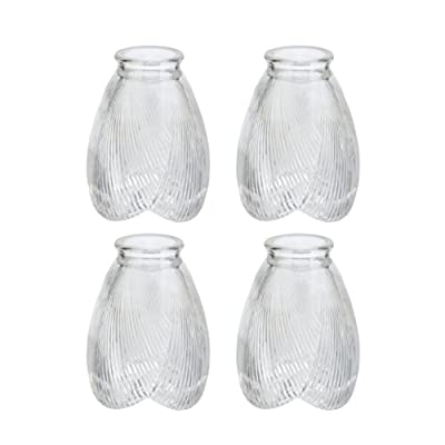 "Aspen Creative 23003-4 Transitional Style Replacement Glass Shade, 2 1/8"" Fitter Size, 5"" High x 3 3/4"" Diameter, 4 Pack"
