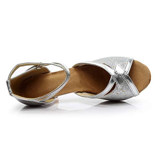 Salsa Sandalias Tacón Mujer Plateado Salón Rumba Latina Qinmm De Vestir Para Vals Zapatos Baile Alto CAqxqXwH
