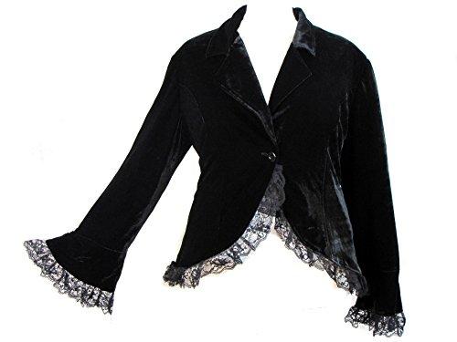 Chic Star Plus Size Black Victorian Gothic Lace Trim Corset Velvet Punk Riding Jacket (2X (Size 20))
