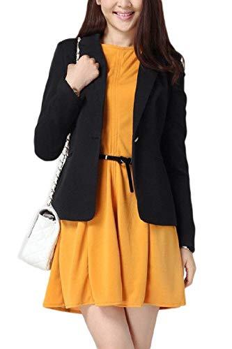Tasche Eleganti Da Fit Moda Con Puro Tailleur Vintage Ufficio Primaverile Button Autunno Lunga Schwarz Colore Giacca Donna Casual Business Blazer Giacche Slim Cappotto Manica 5xwP6qRY5