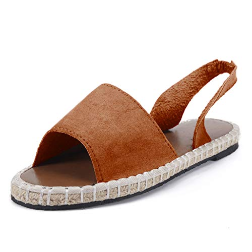 Sunhusing Ladies Stylish Retro Beach Style Sandals Open Toe Flat Bottom Woven Ankle Strap Roman Slippers Sandals Brown ()
