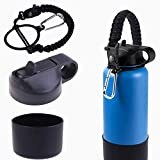 MeiMeiDa Paracord Handle & Protective Bottom Silicone Boot Cover &Insulated Wide Mouth Straw Lid – Accessories Set fits 12-24 oz Hydro Flask Bottles