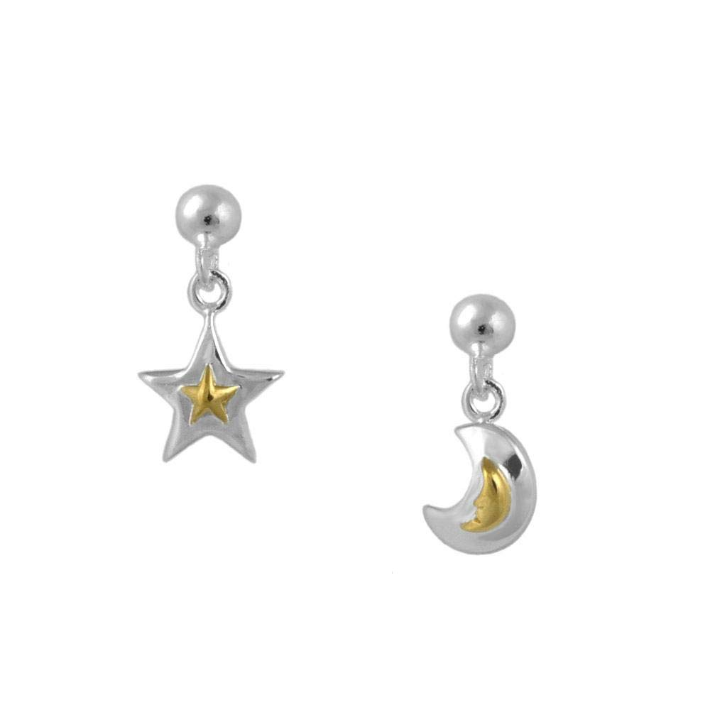 Sterling Silver And Yellow Gold Two Tone Star And Moon Earrings For Girls