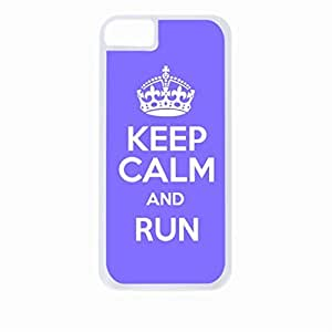 Keep Calm And Run-(Purple)-Hard White Plastic Snap - On Case-Apple Iphone 4 - 4s - Great Quality!