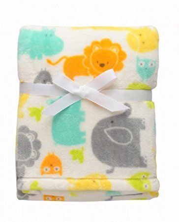 Baby Starters White Safari Blanket with Many Animals 30X 40 INC by Baby Starters