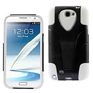 CoverON Hybrid Dual Heavy Duty Black Hard Case and Soft White Silicone Skin Cover with Kickstand for Samsung Galaxy Note 2 II