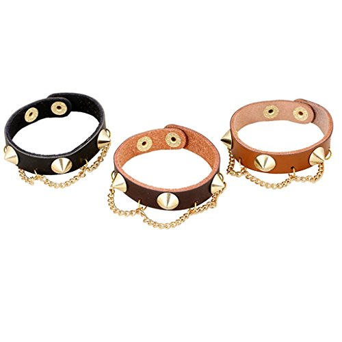 Hit Girl Costume Uk (Bishilin Retro Style Rivet Punk Dark Brown Leather Cuff Wrap Bangle Bracelets)
