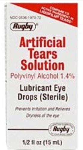 Rugby Artificial Tears Solution Sterile Lubricant Eye Drops 15 ml (Pack of 3)
