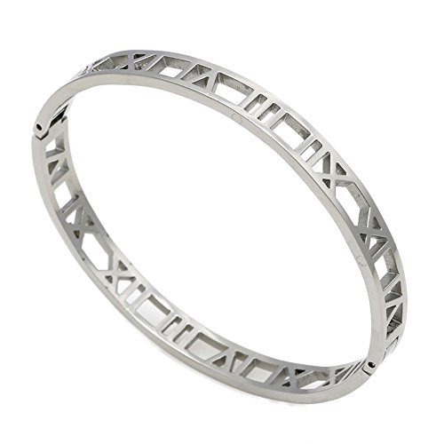 (iMoyoko Women Men Gold -Plated Stainless Steel Narrow Pierced Hinged Bangle Bracelet (Silver))