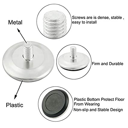 10 unidades Pie de nivelaci/ón de rosca ajustable para muebles M10 x 20 mm