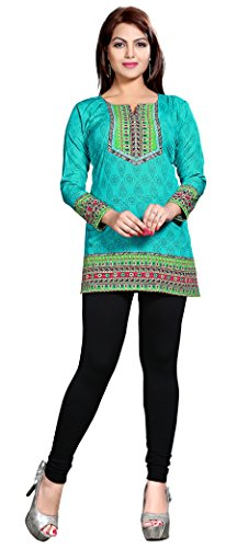 Indian Kurti Top Tunic Printed Womens Blouse India Clothes (Green, L)