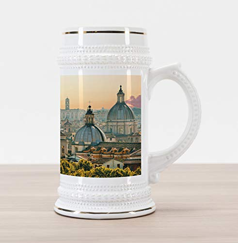 Ambesonne City Beer Stein Mug, View of Rome from Castel Sant'Angelo Italy Historical Landmark Vatican, Traditional Style Decorative Printed Ceramic Large Beer Mug Stein, Pale Salmon Ivory Green