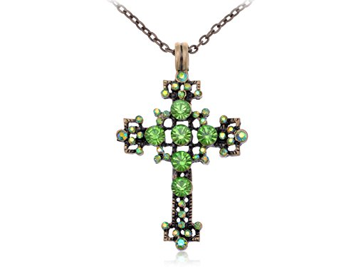 (Alilang Vintage Inspired Tone Green Synthetic Peridot Rhinestone Crystal Bubble Holy Cross Pendant Necklace)