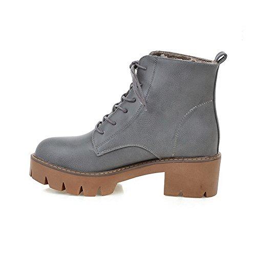 AdeeSu Girls Bandage Solid Kitten-Heels Imitated Leather Boots Gray FVgyiNb