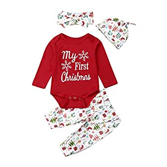 Weixinbuy Baby Girl's My First Christmas Cotton Romper Bodysuit Pants Trousers Clothes Set with Hat Headband Red