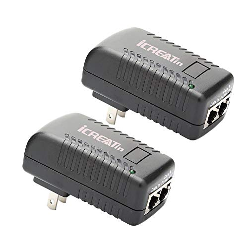 iCreatin 2-Pack Wall PoE Injector Power Over Ethernet Adapter 802.3af 48V 24W 0.5A for Security IP Cameras IP Phones, 10/100Mbps For Sale