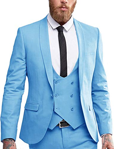 Mens Wedding Attire 3-Piece Suit One Button Formal Sky Blue Business Suits for Teens Party Blazers