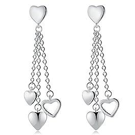 Cdet 1Pair Silver Heart Tassel Earring Jewellery Women Drop Dangle Ear Studs Pendant Jewelry Accessories Gift
