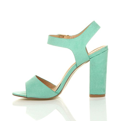 Sandals Block Mint Size Heel Suede Ajvani Women High Green c4TZyWWEIR