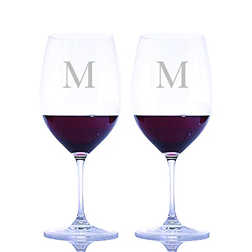 Personalized Riedel Crystal Vinum Cabernet Sauvignon/Merlot (Bordeaux) Stemmed Wine Glasses Engraved & Monogrammed - 2pc. Set - Great Housewarming or Wedding Gift - Great Holiday & Christmas - Monogrammed Wine Red